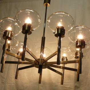 Vintage Doria? chrome chandelier, mid century 60's.  1